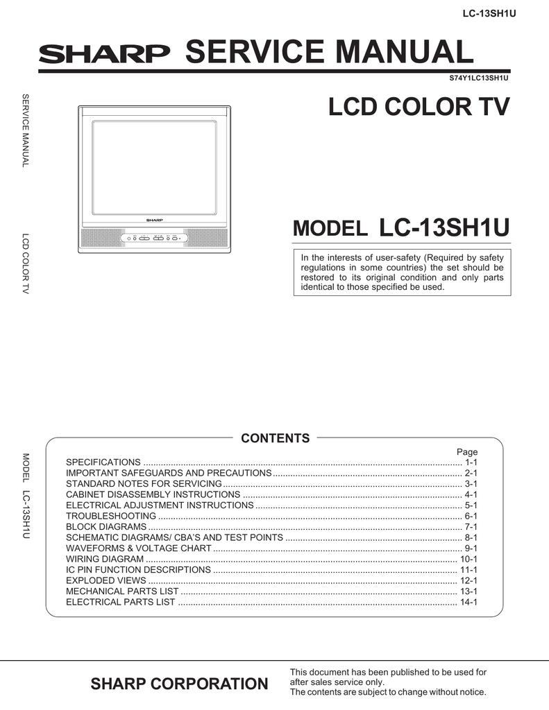 Sharp LC-13SH1U Service manual | manualzz.com on
