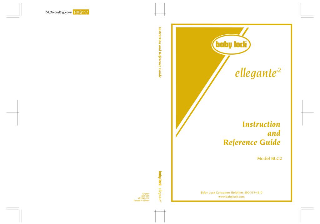 Baby Lock Ellegante 2 Blg2 Instruction Manual Manualzz Com