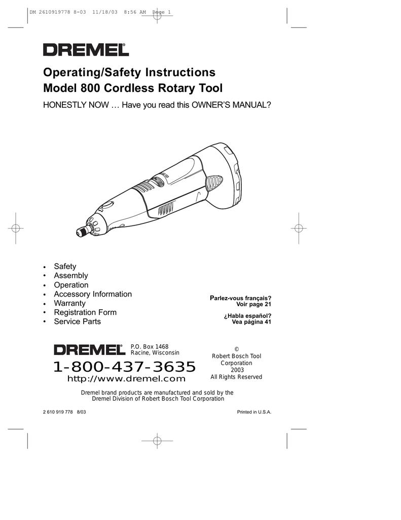 Dremel 800 Owners Manual Wiring Diagram