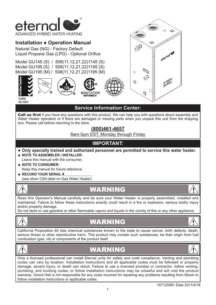 Eternal gu145s508111145s operators manual ccuart Choice Image
