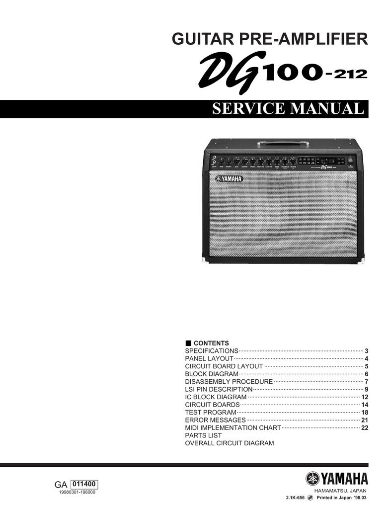 Yamaha Dg100 212 Service Manual Mt 01 Wiring Diagram