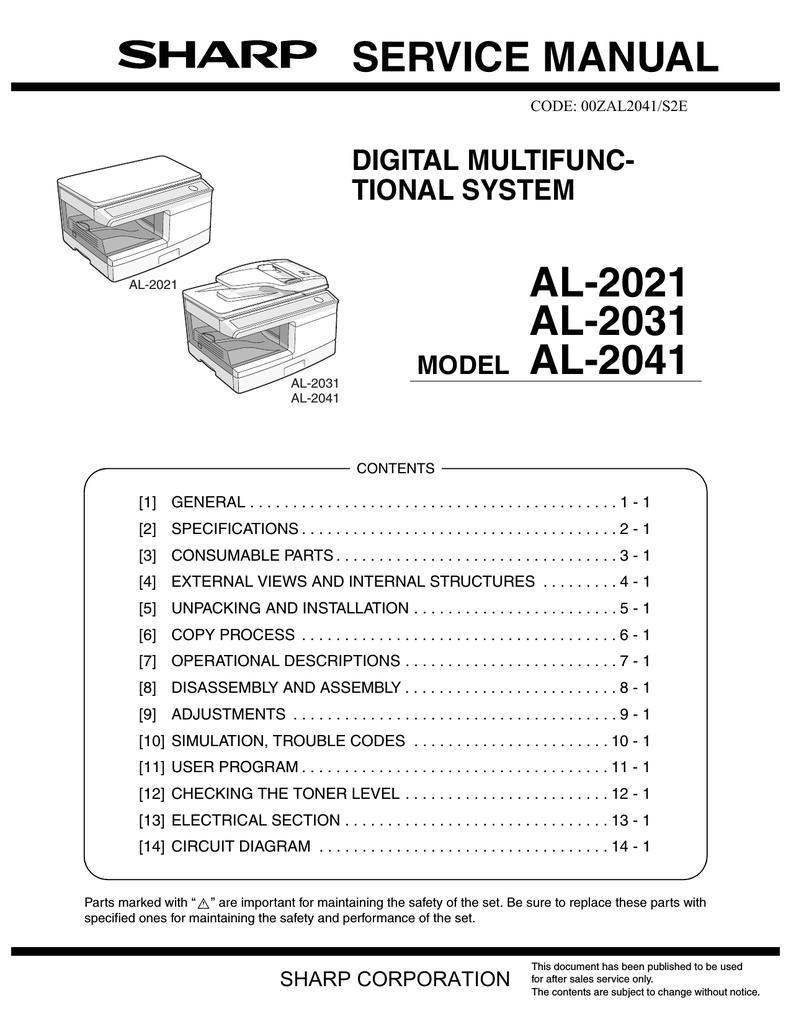 Sharp Al 2021 Service Manual Circuit Diagram Of Mpl Laser Diode Driver