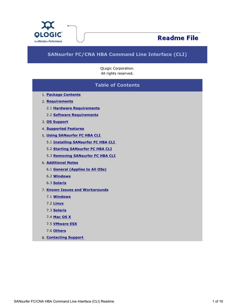 Qlogic SANsurfer FC/CNA HBA CLI User`s guide | manualzz com