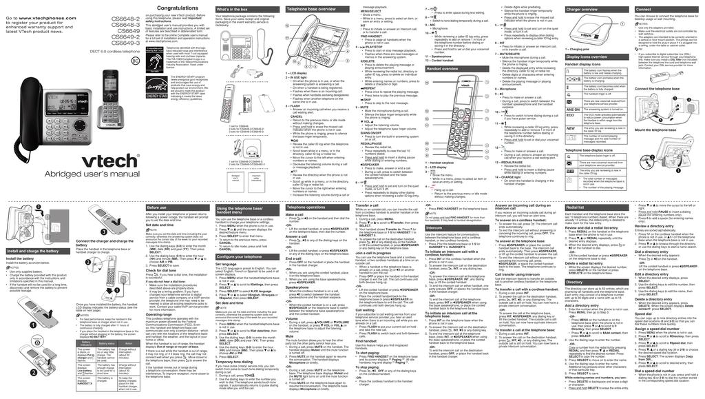 vtech cs6649 3 user s manual manualzz com rh manualzz com vtech cs6649 manual vtech cs6649-3 manual