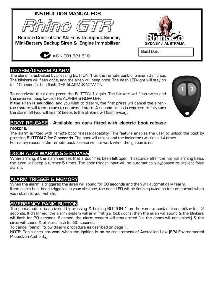 RHINO GTR Instruction manual