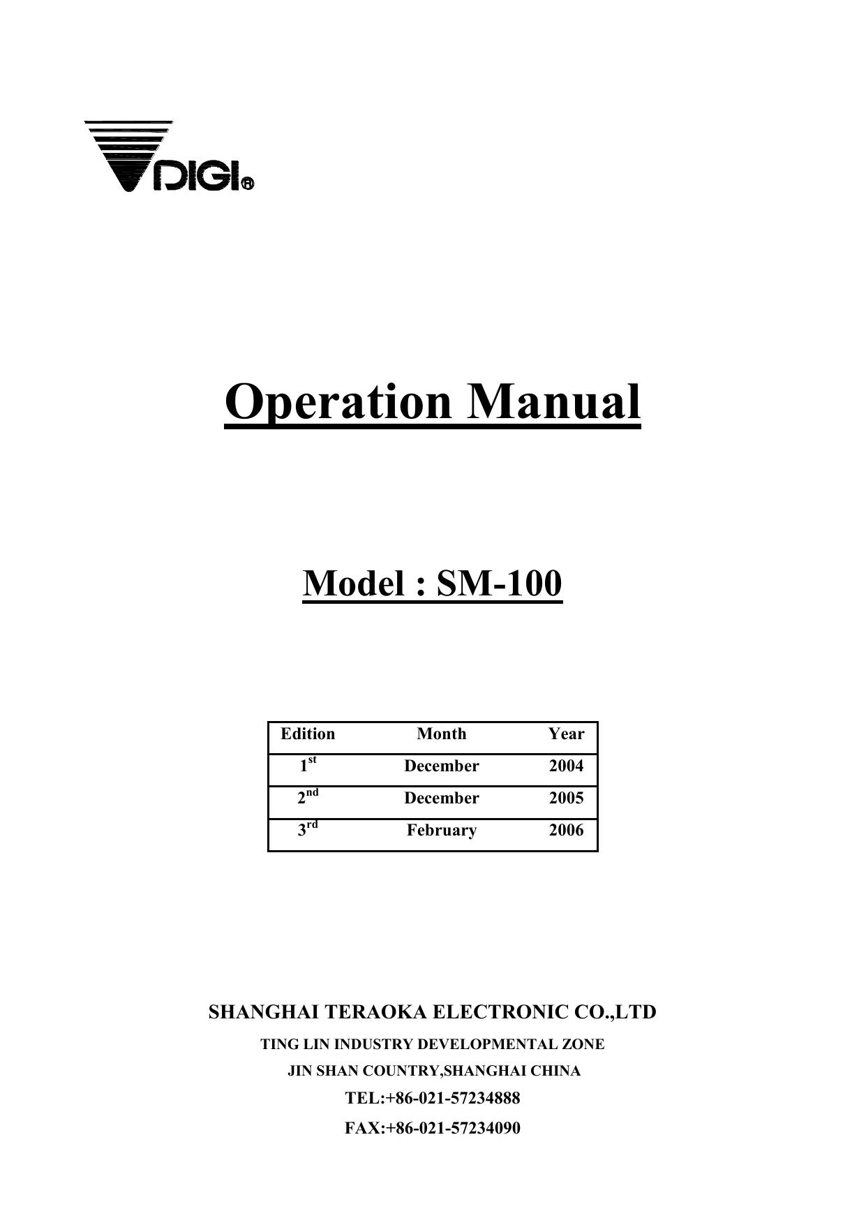 DIGI SM-100 Operation Manual | manualzz com
