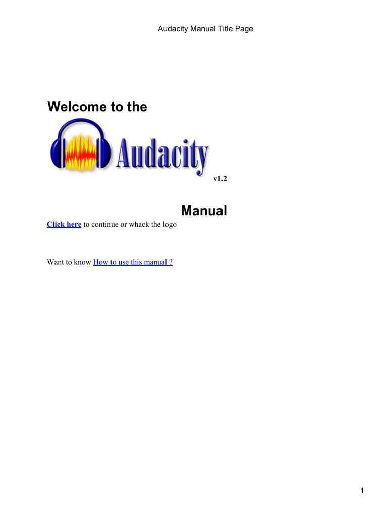 Audacity Manual Title Page