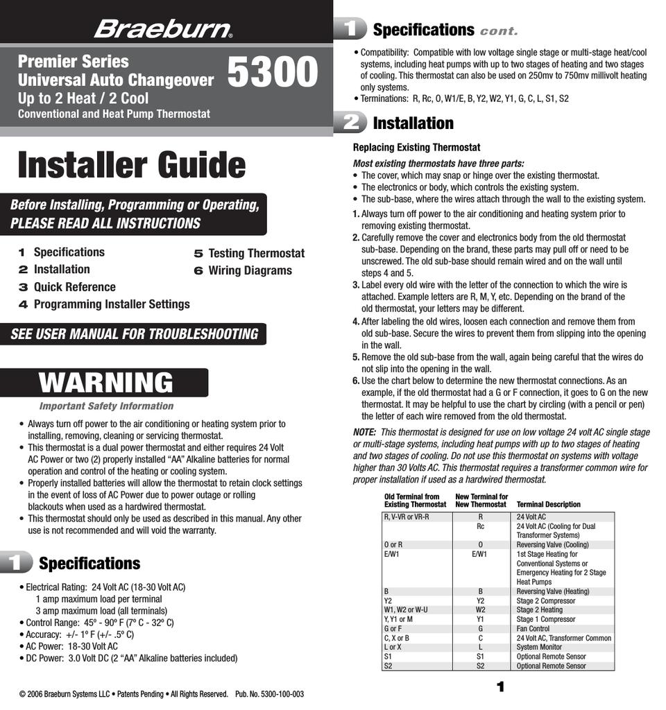 Braeburn 5300 Specifications 24 Volt Ac Home Wiring