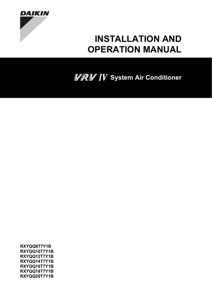 Daikin RXYQQ20T7Y1B Specifications | manualzz com