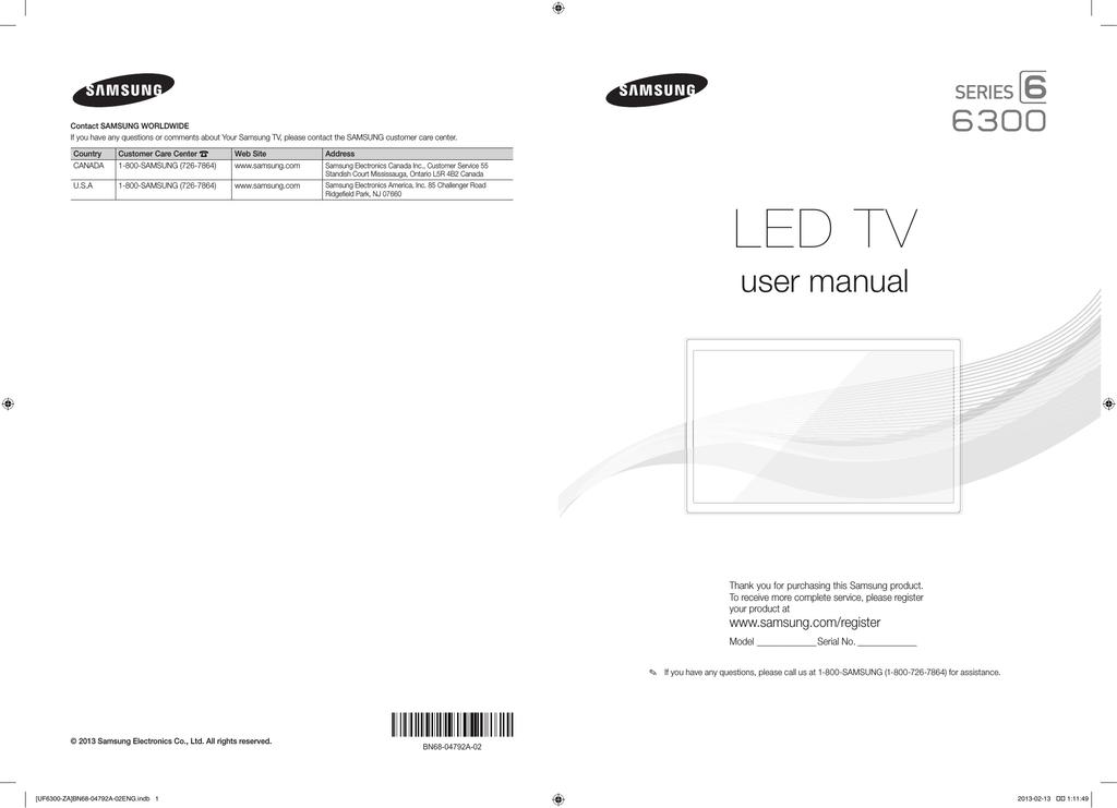 Samsung Un40f6300af User Manual Manualzz