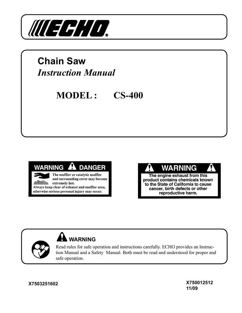 McCulloch CS 400T Instruction manual   manualzz com