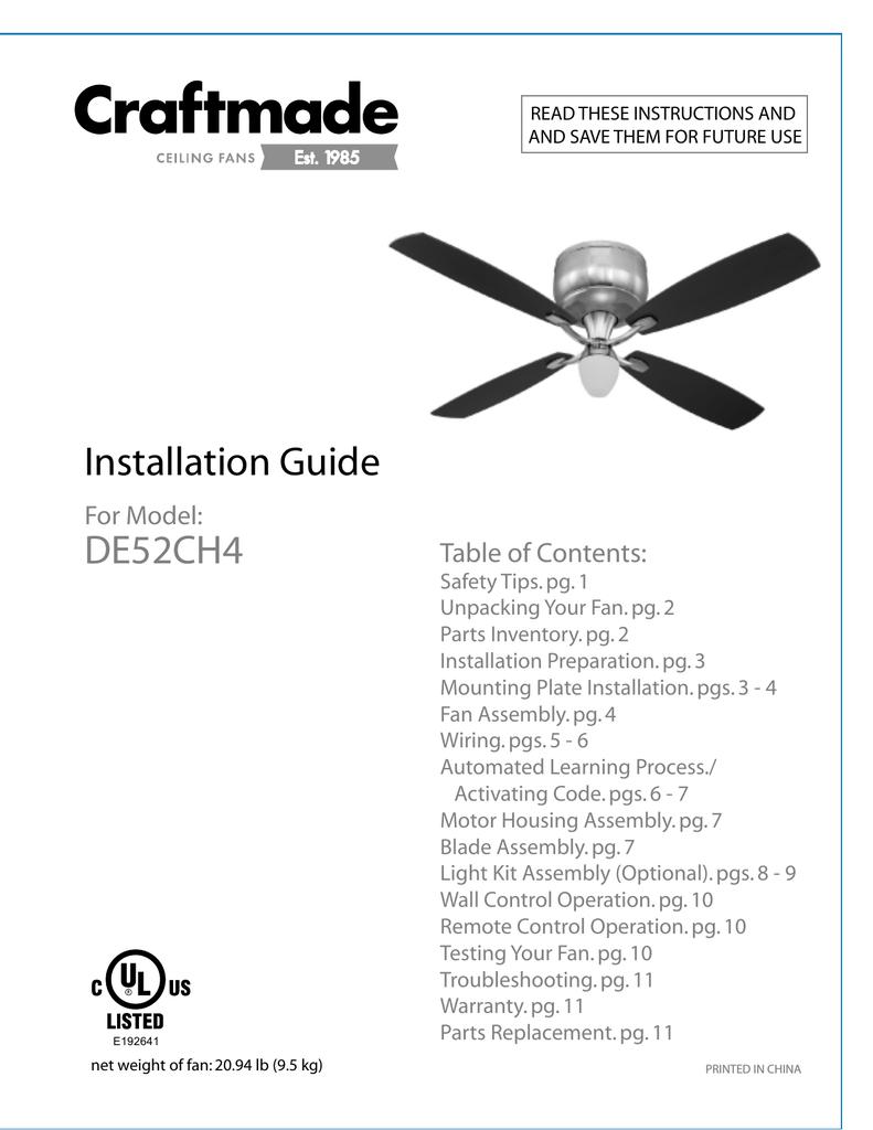 craftmade wiring diagram craftmade ca60 installation guide manualzz  craftmade ca60 installation guide