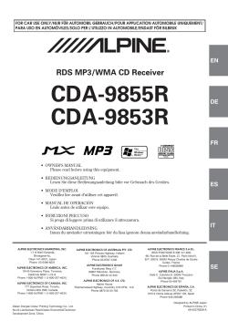 Alpine cda-9853r car stereo system manual.