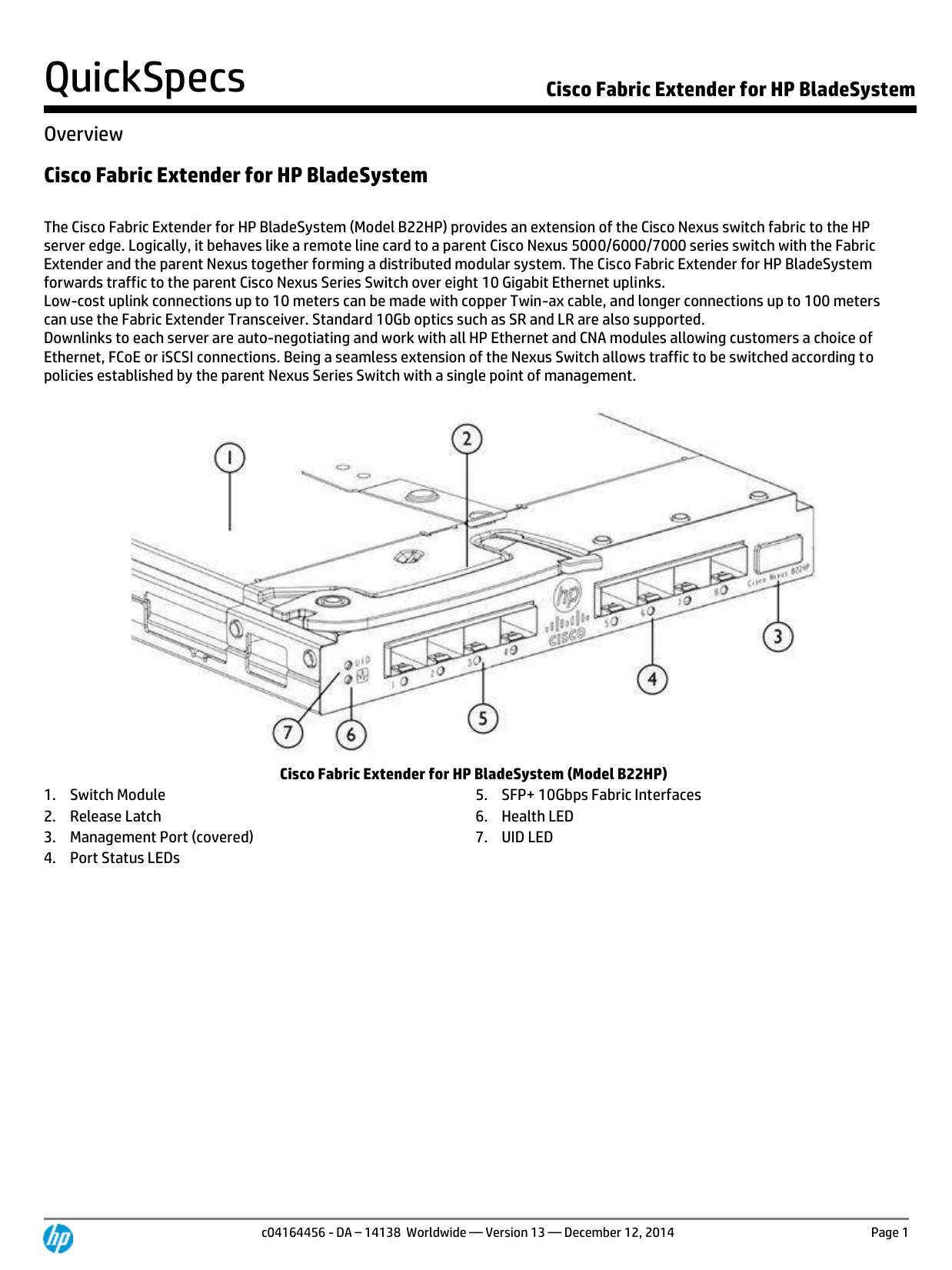 Cisco Fabric Extender for HP BladeSystem | manualzz com