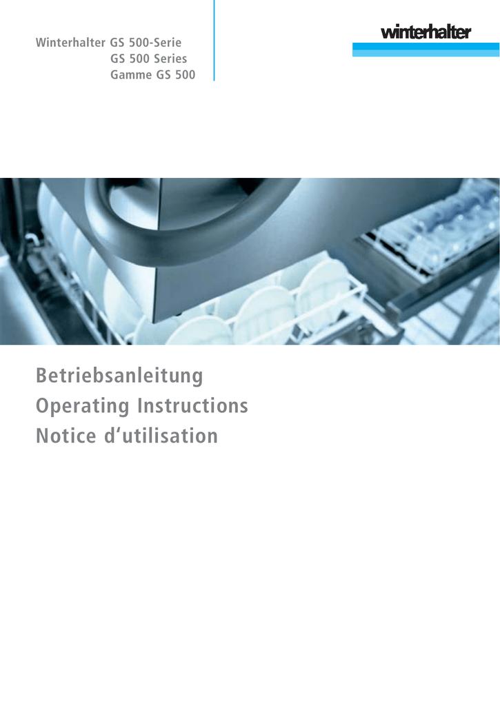 Winterhalter GS 500 series Operating instructions | manualzz com