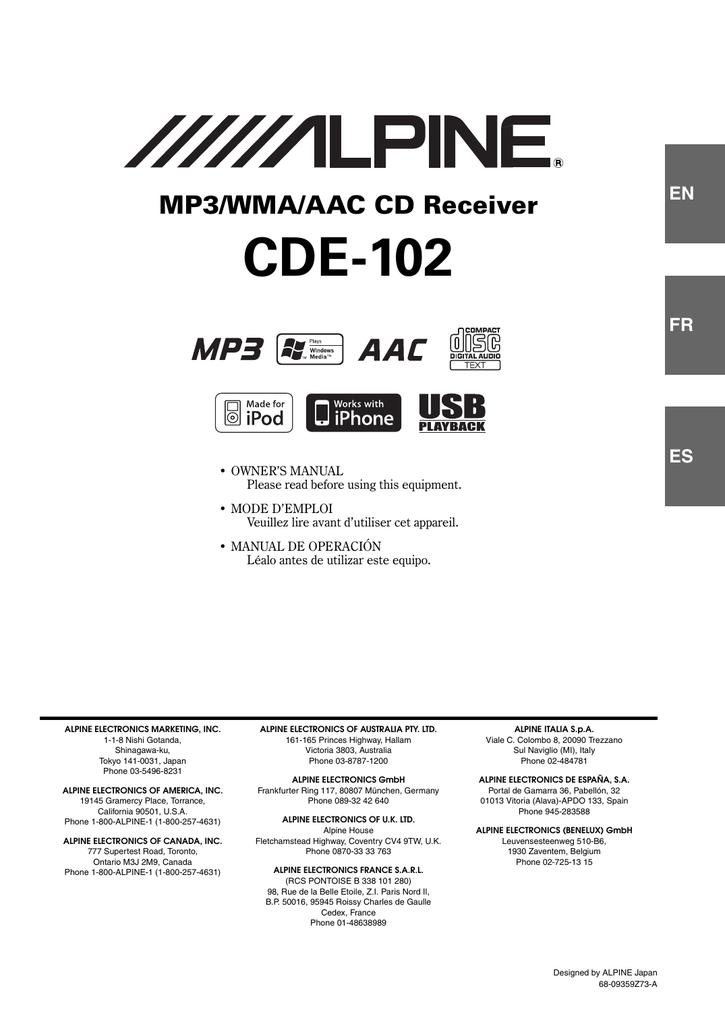 Alpine Cde 110ub Owner S Manual Manualzz