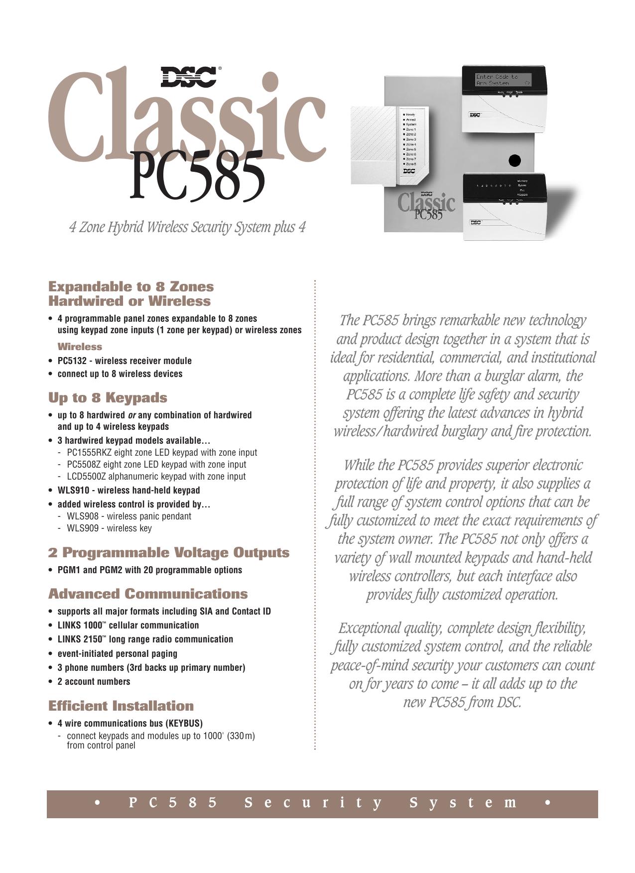 PC585 Spec Sheet | manualzz com