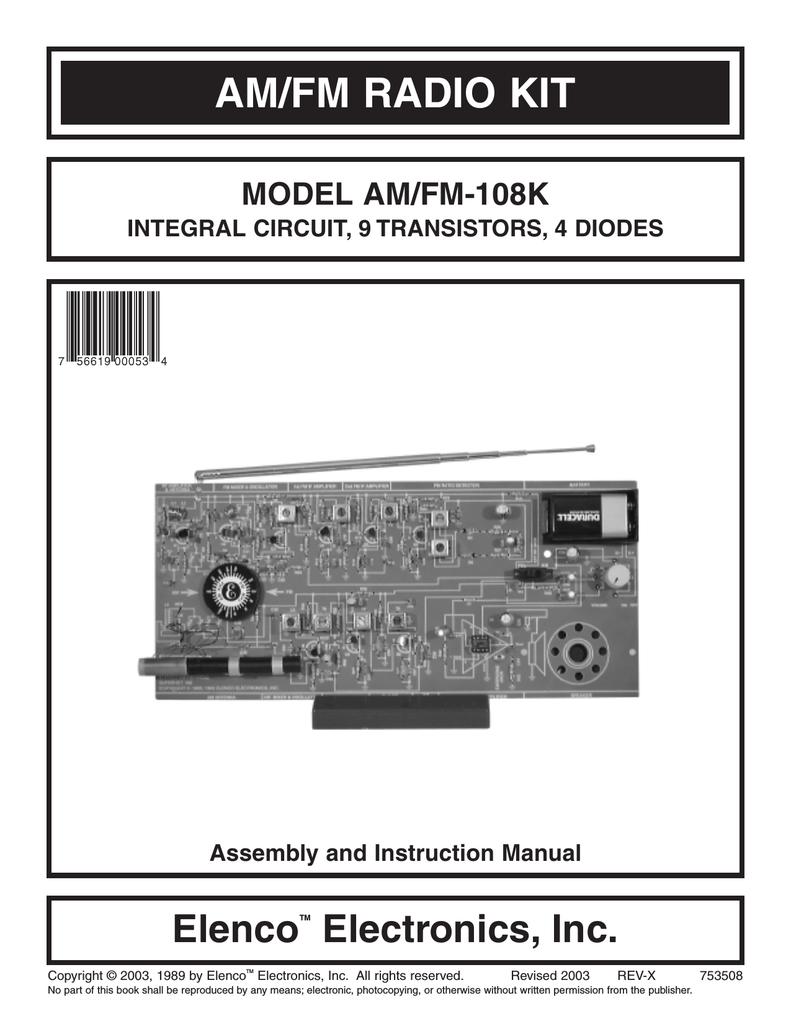 Elenco Electronics AM/FM-108K Instruction manual | manualzz com