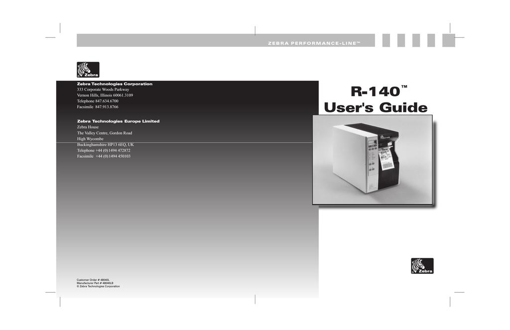 Zebra R-140 User`s guide | manualzz com