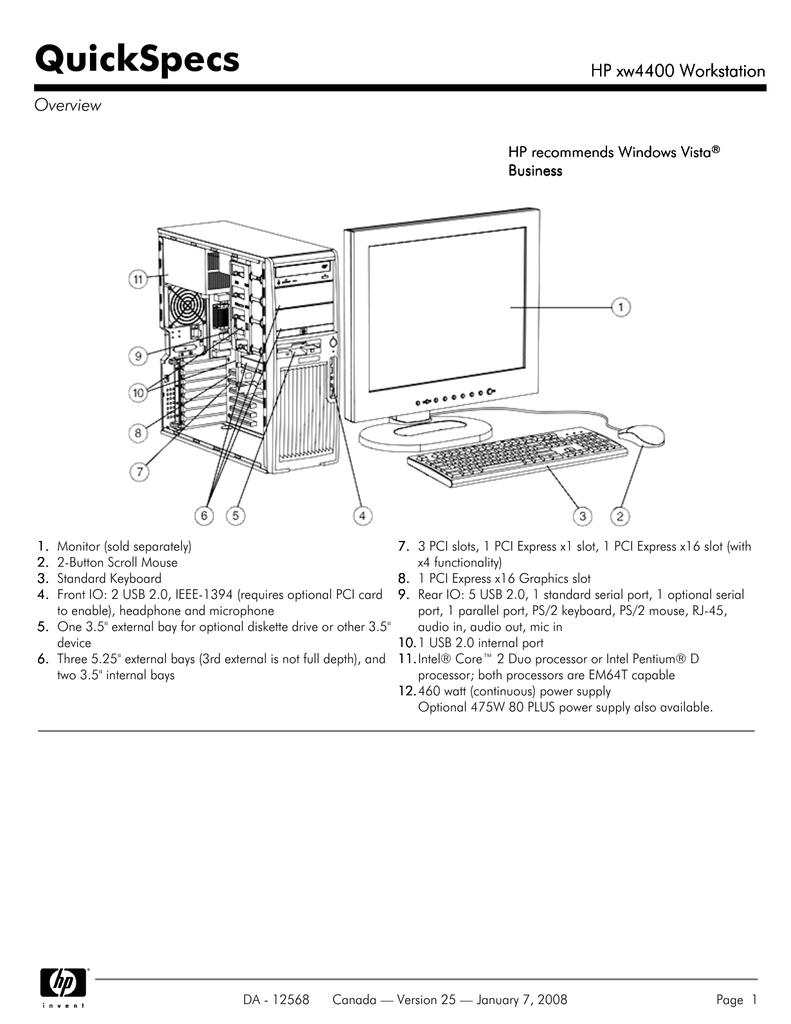 HP xw4400 Workstation NVIDIA Quadro FX 560 Video Windows Vista 32-BIT