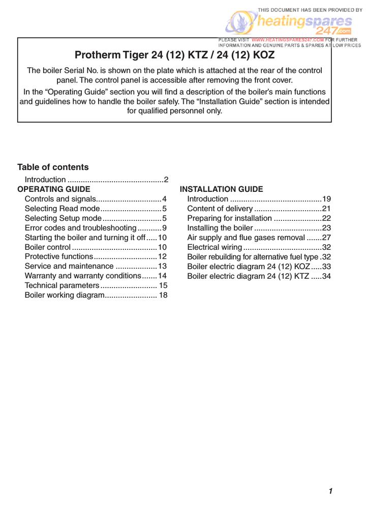 Protherm 24(12) KTO Installation guide | manualzz.com