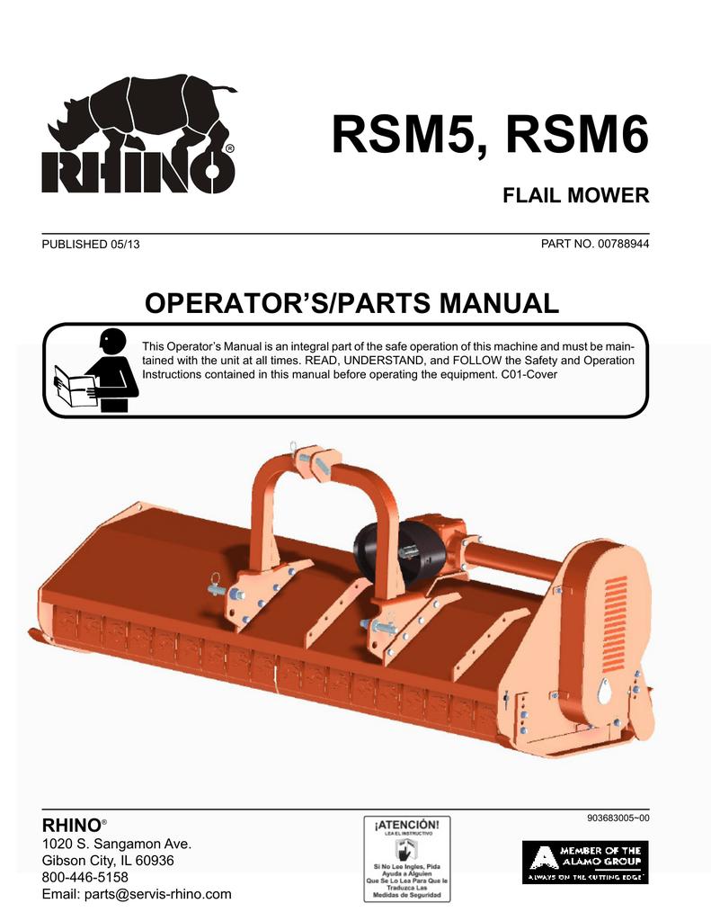 Servis-Rhino 1485 Operator`s manual | manualzz com