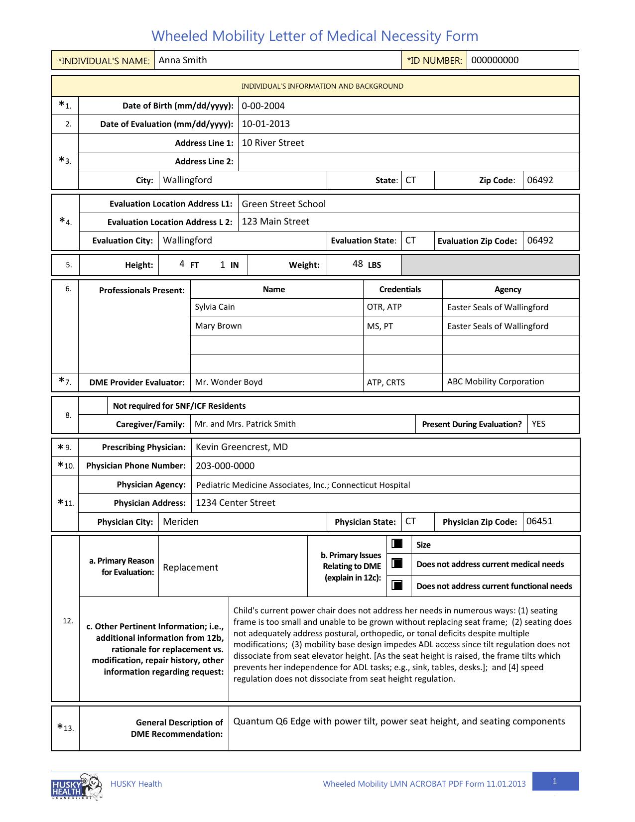 Sample LMN Form for a Living at Home Child | manualzz com