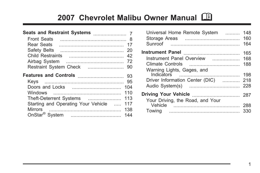 Chevrolet Malibu 2007 Specifications | Manualzz