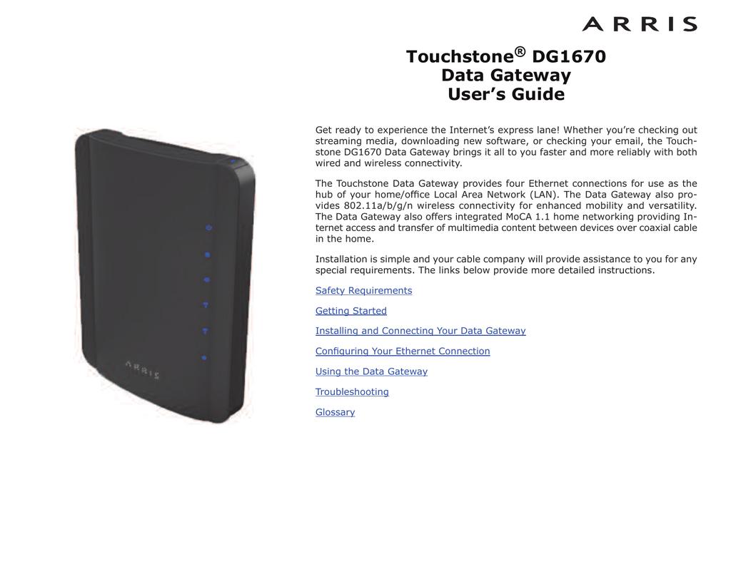 Arris Touchstone DG1670 User`s guide   manualzz com