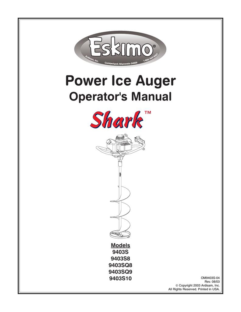 Eskimo Shark 9403S Operator`s manual | manualzz com