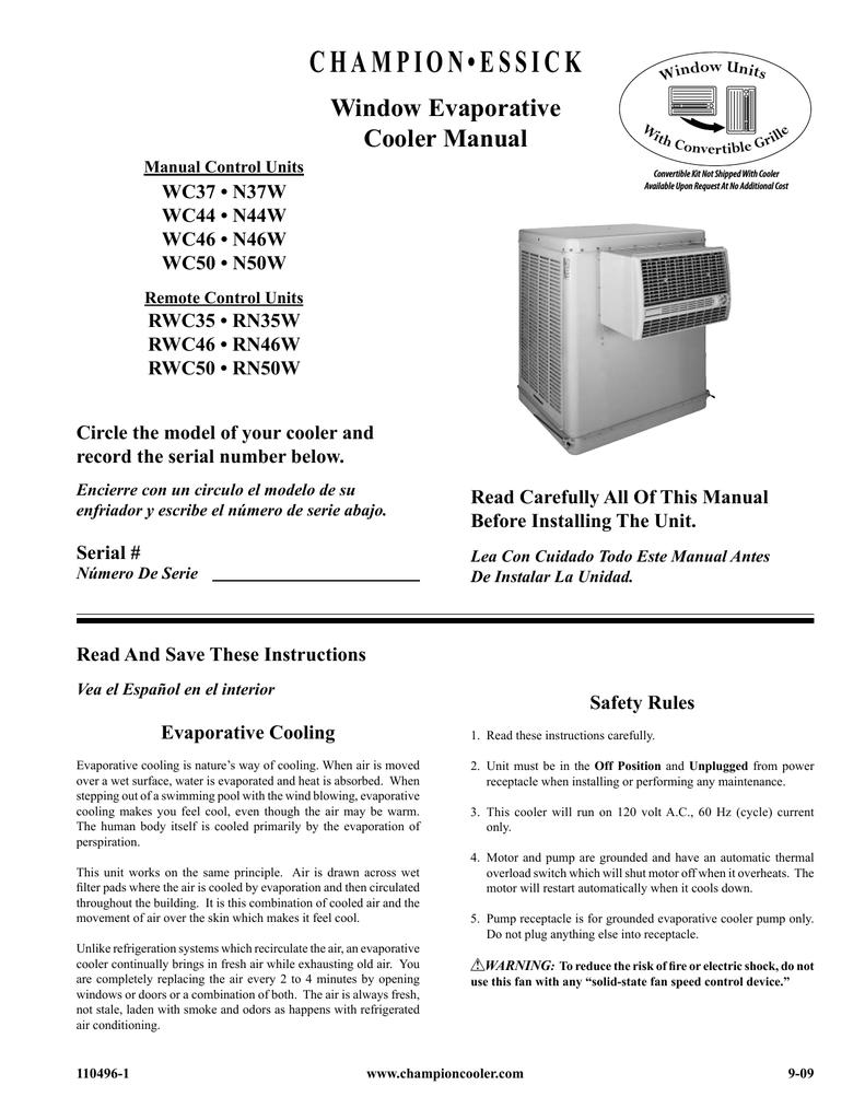 Champion RWC35 Owner`s manual | manualzz com