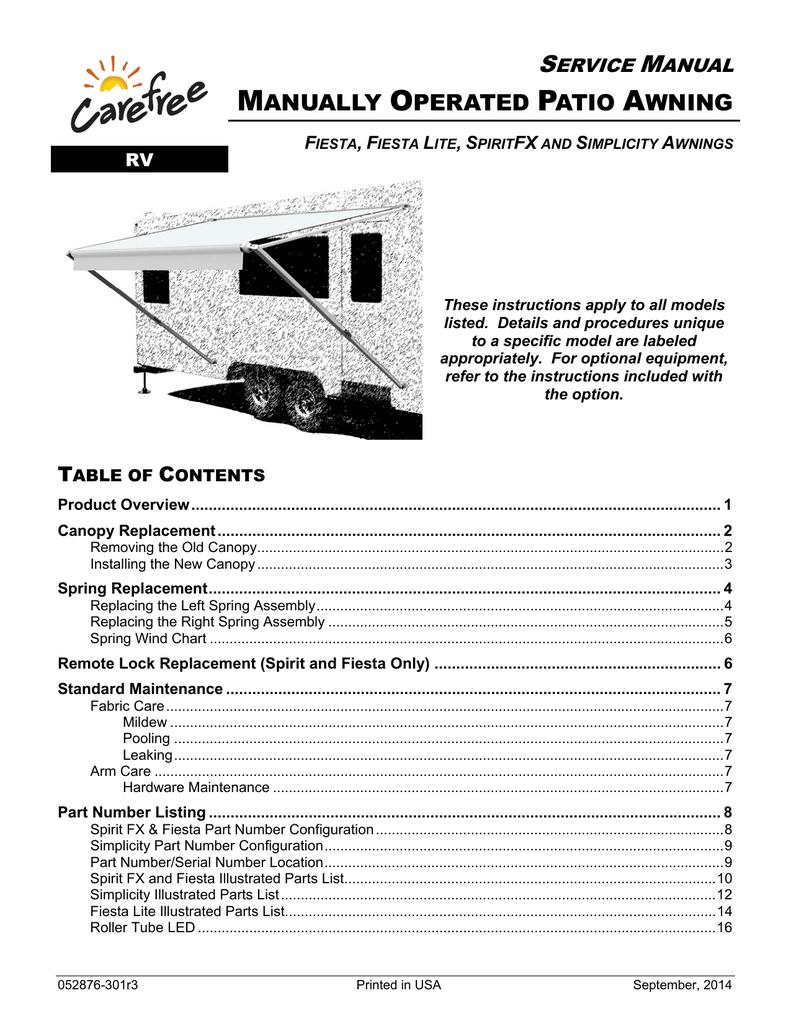 Carefree FIESTA Service Manual