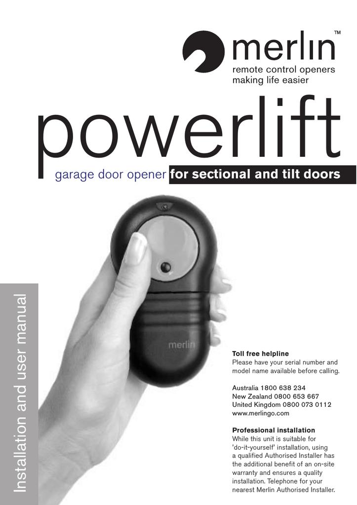 Merlin Powerlift User Manual Manualzz