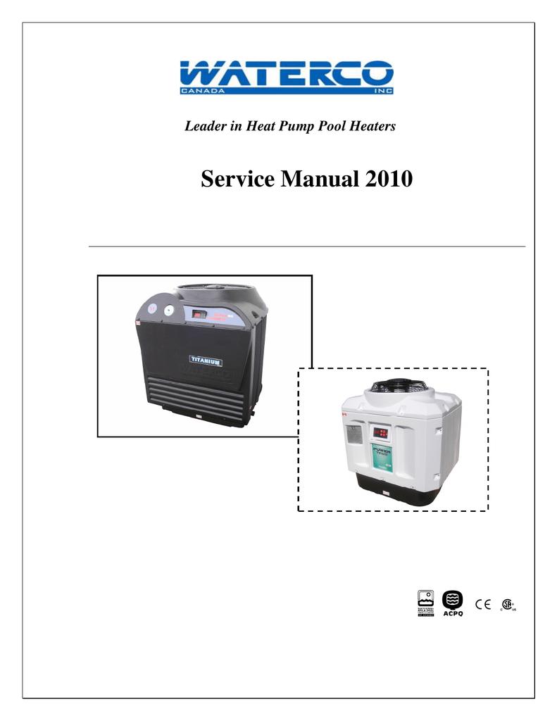 Waterco Heat Pump Swimming Pool Heaters Service Manual