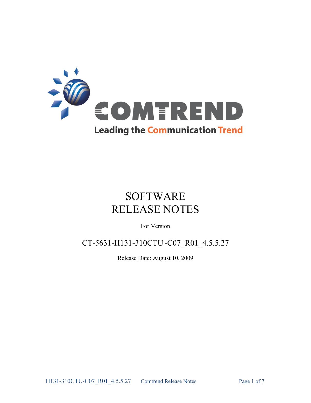 Customer Release Notes CT 5631 H131 310CTU