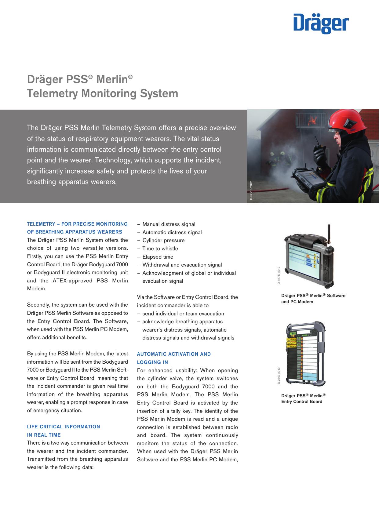 Dräger PSS® Merlin® Telemetry Monitoring System | manualzz com