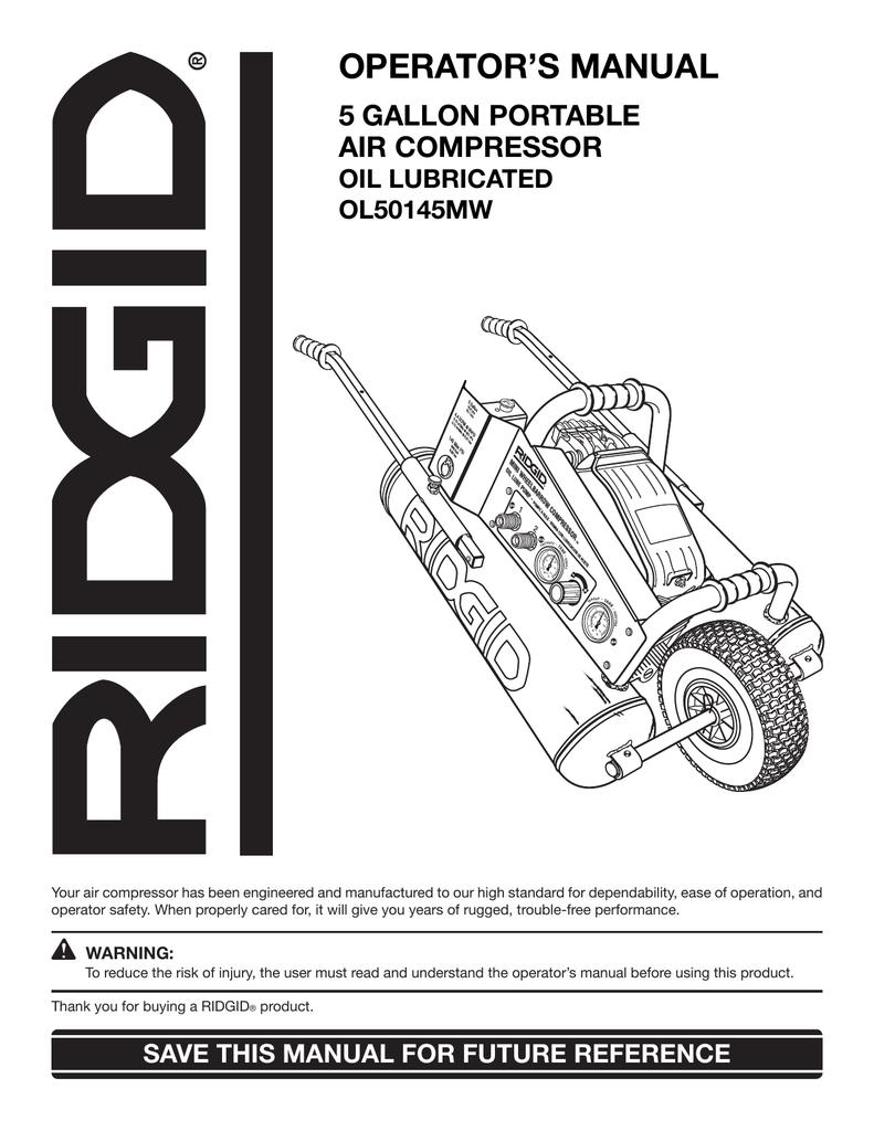 Ridgid Ol50145mw Air Compressor Schematics Wiring Trusted Rigid Diagram Operators Manual Manualzz Com
