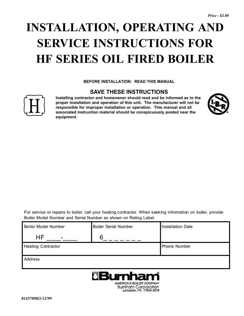 Burnham Hf Series Instruction Manual Boiler Wiring Diagram