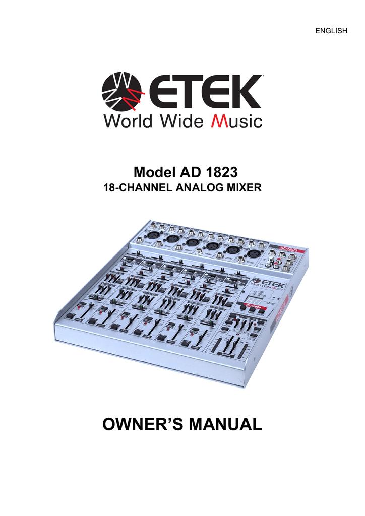 ETEK AD 1823 Owner`s manual | manualzz.com Mackie Cfx Schematic Diagram Free Download on