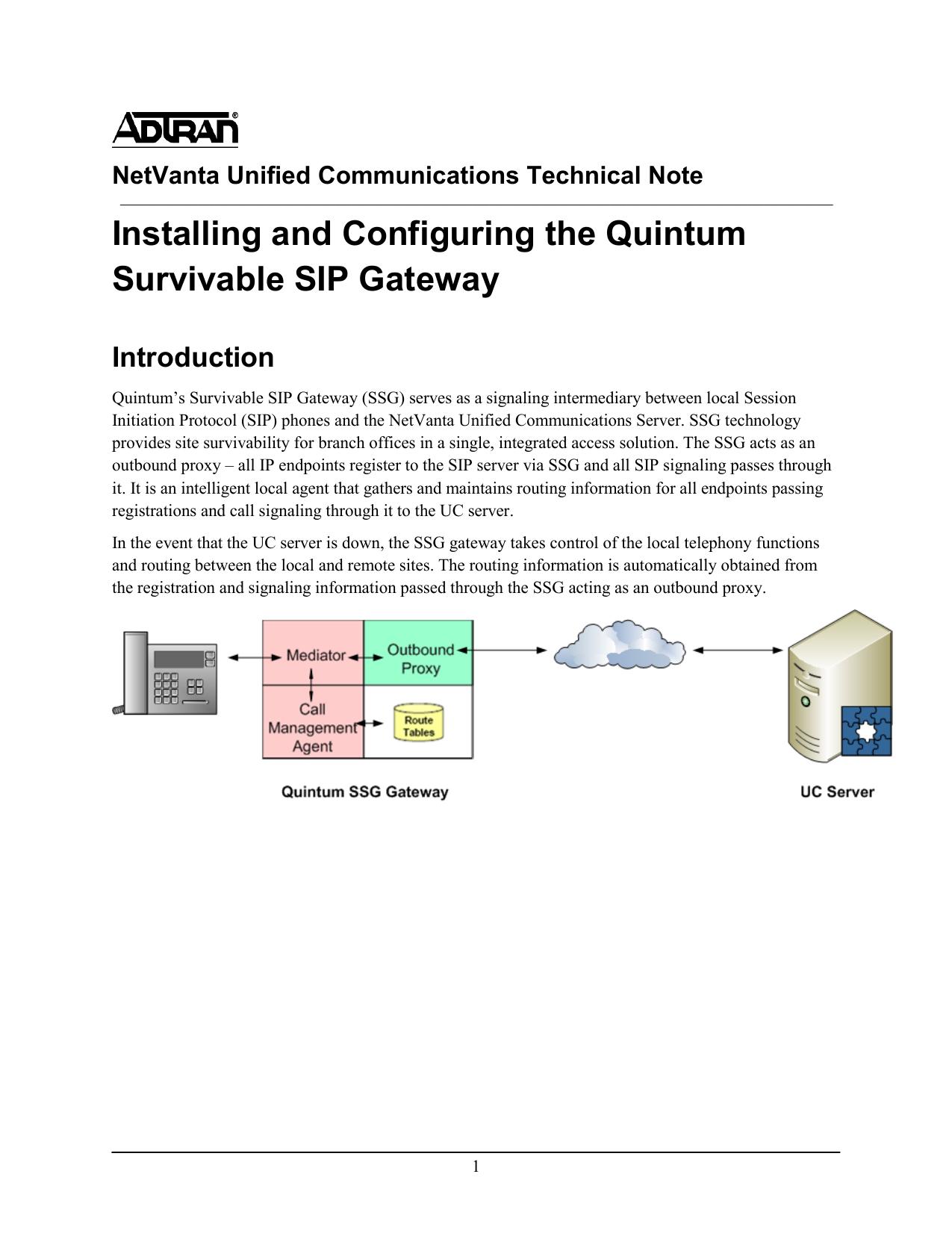 TN101 - Quintum Survivable SIP Gateway Installation and