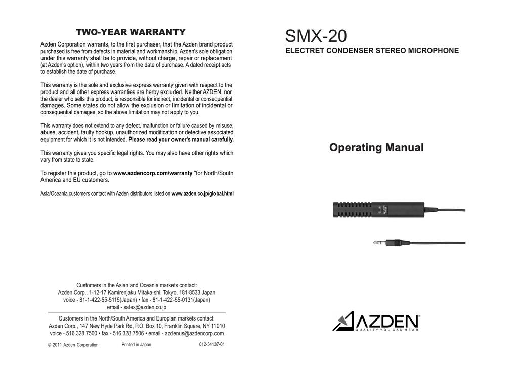 Azden SGM-1X Owner`s manual   manualzz com