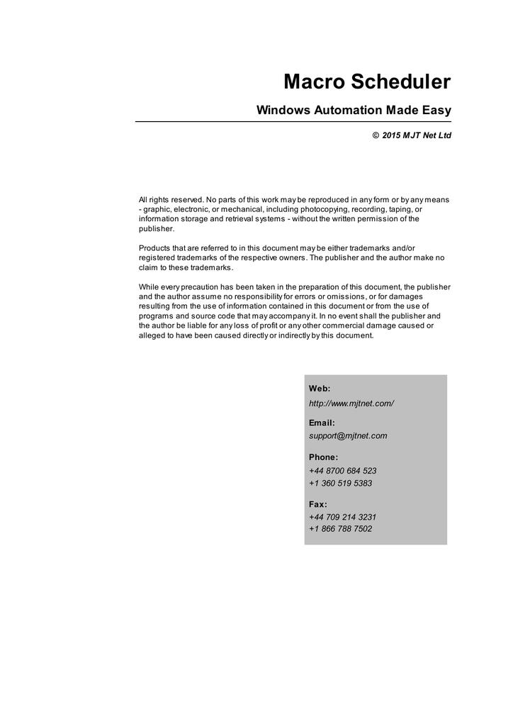 PDF manual - Macro Scheduler | manualzz com