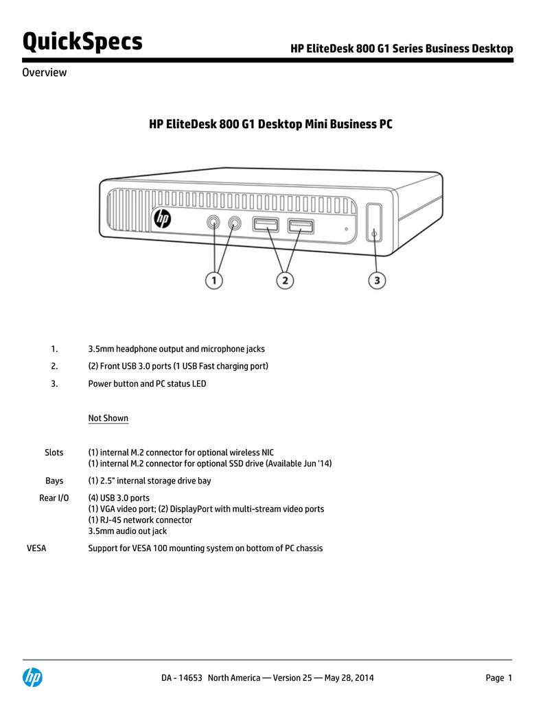 HP EliteDesk 800 G1 series QuickSpecs | manualzz com