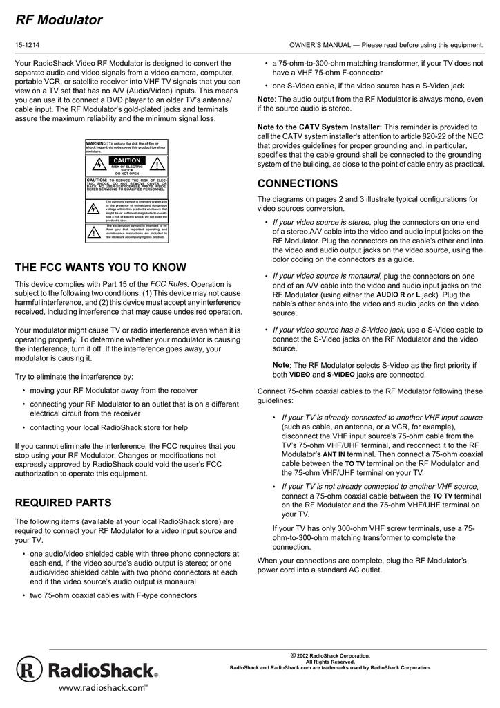 Radio Shack Video Rf Modulator Owner S Manual Manualzz