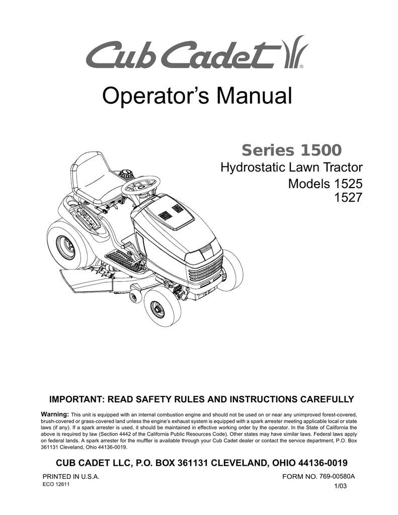 Cub Cadet 1527 Operator`s manual | manualzz com