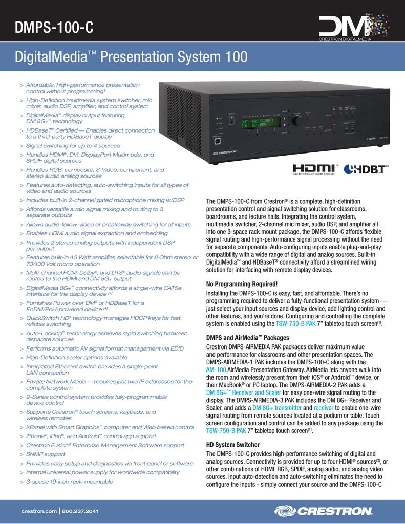 Crestron DMPS-100 Specifications | manualzz com