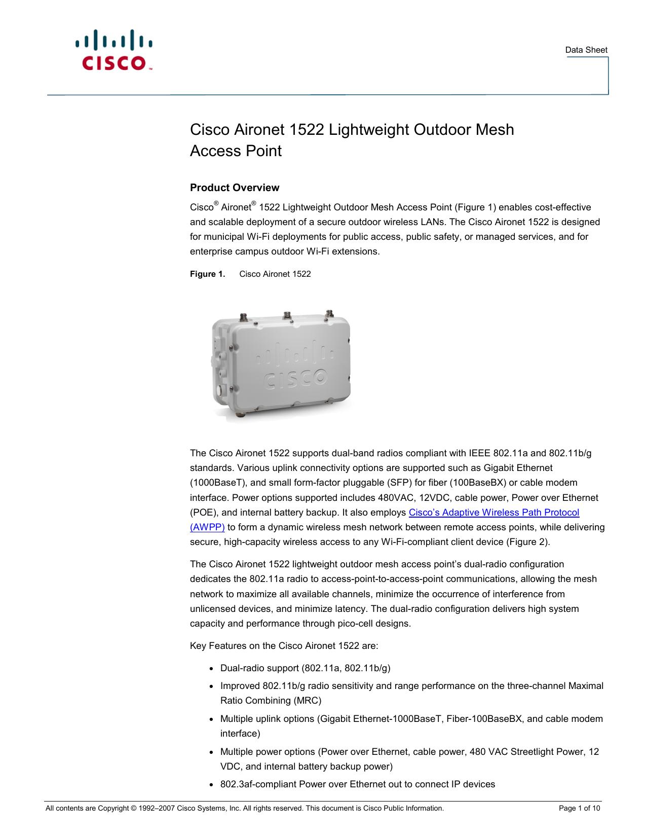 Cisco Aironet Air-LAP1522AG-A-K9 Outdoor Wireless Access Point 2.4Ghz Antenna