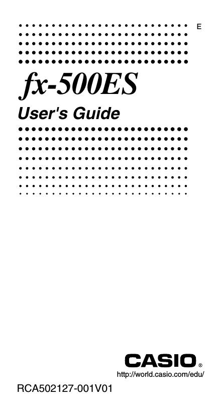 Casio FX-500 User`s guide | manualzz com