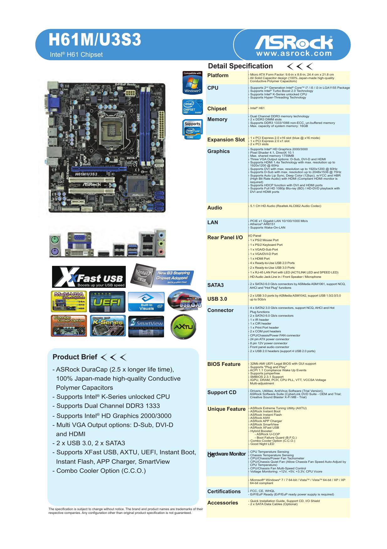 ASRock H61DE/SI XFast LAN 64 Bit