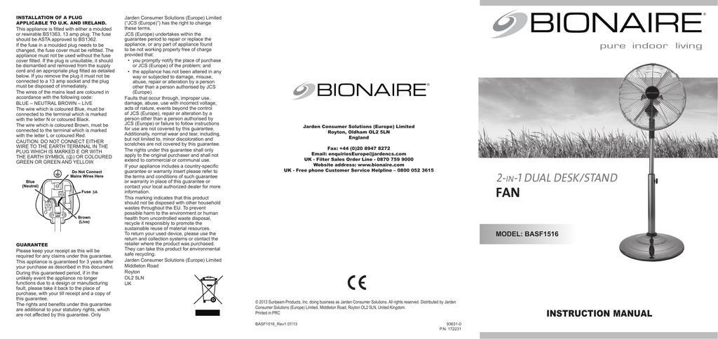 Bionaire BASF1516 Instruction manual | manualzz com